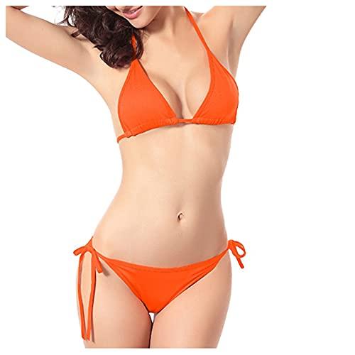 VCAOKF Costume da bagno classico sexy color caramella candy, bikini classico push up, costume da spiaggia imbottito, set costume da bagno, costume da spiaggia da S a XL Colore: arancione. S
