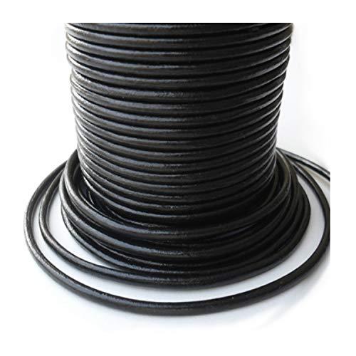 Auroris Leren band, 50 m, rond, diameter 3 mm, zwart