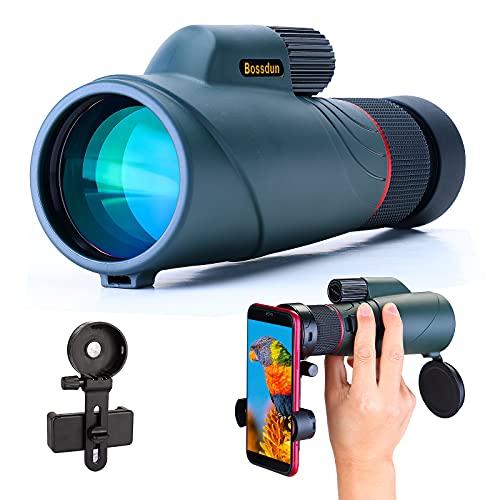 10-20x50 Monokular Teleskop für Erwachsene, wasserdichtes HD Monokular Zielfernrohr mit Smartphone-Halter für Vogelbeobachtung Sightseeing Wandern Jagd Camping Reisen