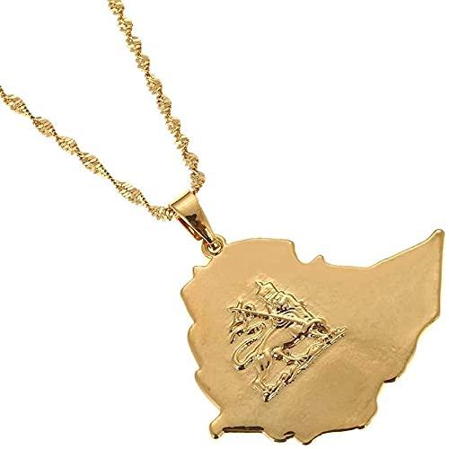 Collar de Mapa Collar Vintage Ethiop Outline Gold Leon Map Colgante Collar Joyería étnica Única para Viajes patrióticos Unisex conmemora el Regalo en Varias Ocasiones