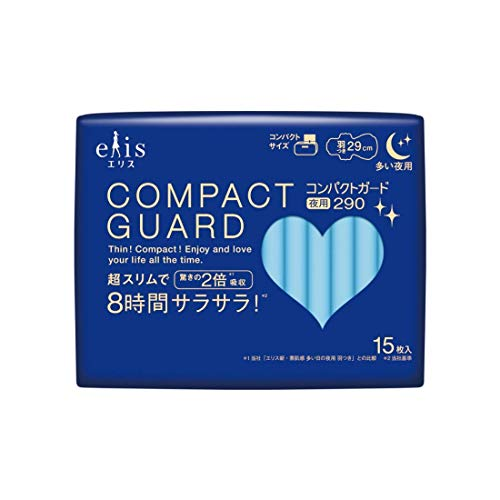 ELIS COMPACT GUARD Sanitary Napkin Heavy Day Overnight 290 W/Wing 15P