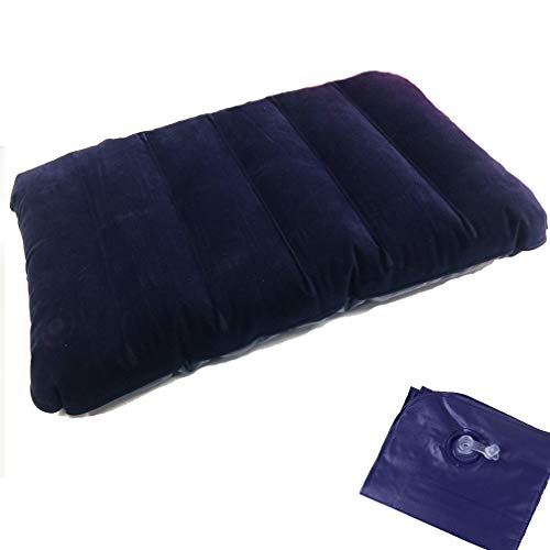 JIAGOU キャンプ枕 エアーピロー 携帯枕 超軽量 40×26×8cm コンパクト トラベルピロー エアー枕 旅行枕 キャンプまくら 仮眠枕 空気枕 腰枕 アウトドア キャンプ (Blue)