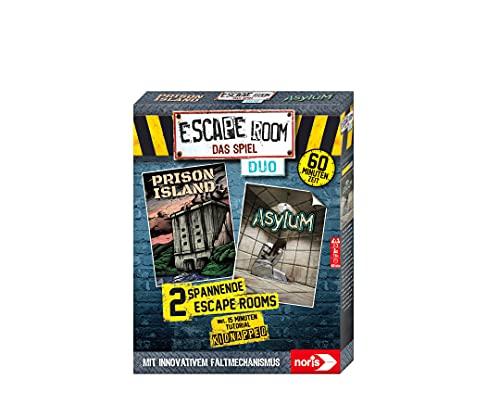 Noris 606101838 - Escape Room DUO, Familien und Gesellschaftsspiel für Erwachsene, inkl. 2 Fällen und Promo Fall mit neuartigem Falt-Mechanismus, ab 16 Jahren