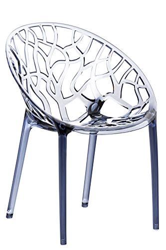 CLP Design-Gartenstuhl Crystal Kunststoff I Wetterbeständiger Stapelstuhl I Max. Belastbarkeit: 160 Kg I In Vielen Farben, Farbe:grau