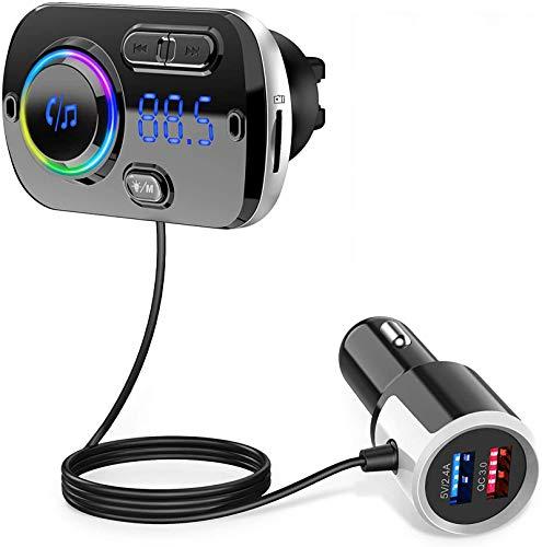 Transmetteur FM Bluetooth 5.0 MEKUULA Adaptateur Bluetooth Voiture Kit Émetteur FM Voiture Chargeur avec Dual USB Ports QC3.0 &5V 2.4A,Appel Main Libre,Lumière Colorée,Support Siri,AUX TF SD Card Port