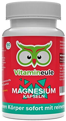 Magnesium Kapseln - 100% reines Magnesiumcitrat ohne Zusatzstoffe - hochdosiert - Qualität aus Deutschland! - 100mg reines Magnesium pro Kapsel - Vitamineule®