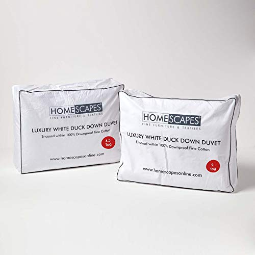 HOMESCAPES Super King Size All Seasons White Duck Down Duvet 13.5 Tog (4.5 tog & 9 Tog) Duvet, 3 in 1 Quilt RDS Certified Natural Filling 100% Cotton Anti Dust Mite Down Proof Cover