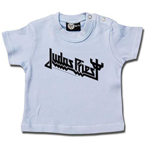 Judas Priest (Logo) - Baby T-Shirt Farbe hellblau - schwarz, Größe 80