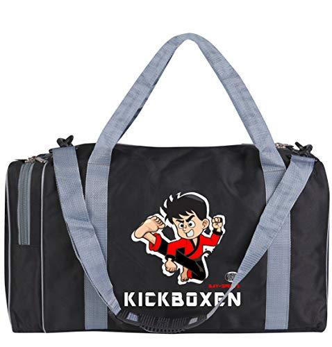 BAY-Sports Sporttasche Kickboxen, Muay Thai Thaiboxen, Kinder Kids small klein Taschen Bag, schwarz grau, Trainingstaschen Sporttaschen Thaiboxtasche
