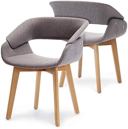 Best Ivinta Modern Living Dining Room Accent Arm Chairs Set of 2 Linen Fabric Mid-Century Upholstered Sid