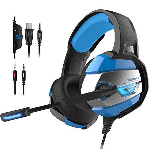 PUNICOK Headset für PS4 Xbox One PC Gaming Kopfhörer mit Mikrofon 3.5mm Surround Sound Ohrhörer für Nintendo 3DS Laptop Tablet Mac Handy