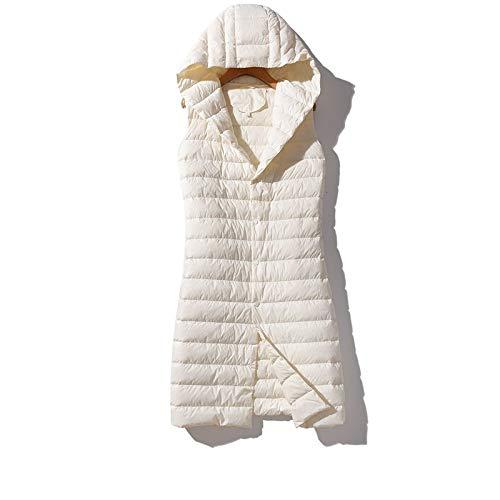 KOOBK Damen Daunenweste Frauen Ultra Light Down Long Thicken Button Hooded Warme Ärmellose Weste, Weiß, L.