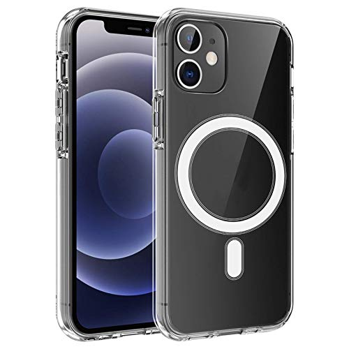 Funda protectora magnética transparente, adecuada para iPhone 12 / Pro / 11 (6,1 pulgadas) funda de silicona para teléfono móvil con cargador Magsafe, funda transparente antideslizante