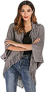 LICHONGGUI Fashion Wild was Thin Loose Cloak Cape Sweater 2020 hot Tops (Color : Grey, Size : S)