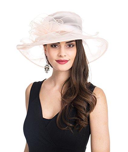 SAFERIN Women's Organza Church Kentucky Derby Fascinator Bridal Tea Party Wedding Hat (SZ-Beige)