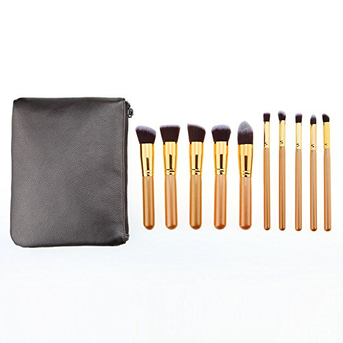 MEIYY Pinceau de maquillage 10Pcs Cosmetic Makeup Brushes Set Powder Concealer Face Make Up Brushes Synthetic Hair Pro Make Up With Bag Kit Pinceis