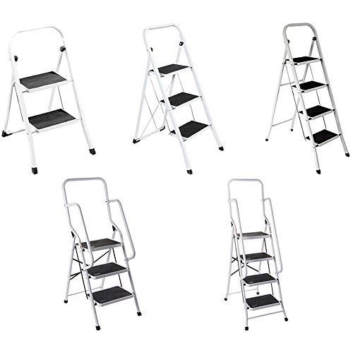 Trittleiter 3 Stufen, Leiter Haushalt Stabil Bis 150 KG   Stahl   Klapptritt, Komfortabel Rutschsichere Stufen   TÜV Süd zertifiziert