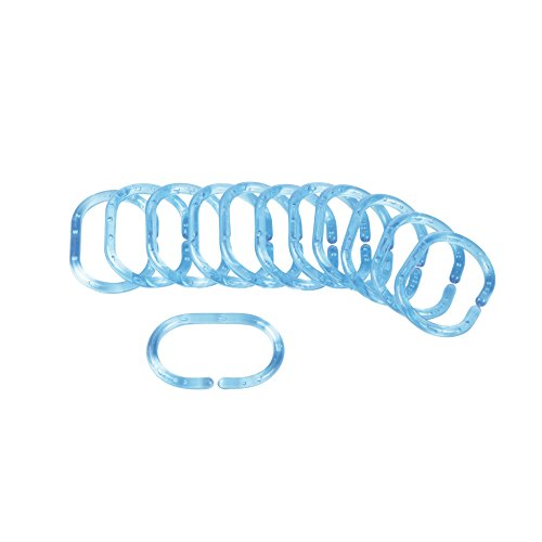 Douceur d 'Intérieur Ringe für Duschvorhang, 12-teilig, Maße: 4x 0,4x 6cm ozeanblau