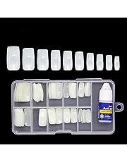 Colour Blast Artificial Nails Set With Glue Acrylic Face Nails Set Of 100 Pcs and Artificial Nail Glue 3gm Artificial Nails Reusable