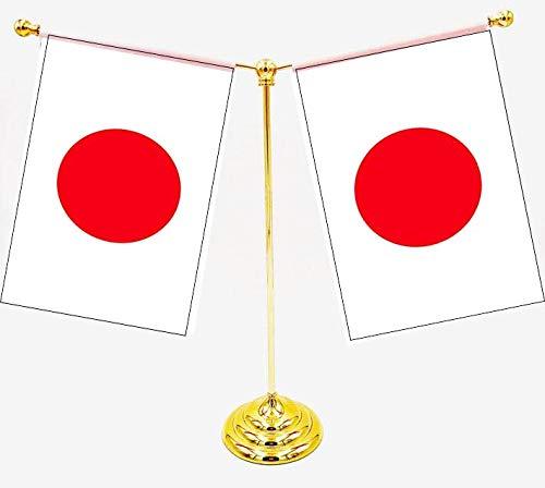 【40ケ国旗交換できます】日本国旗 2枚(21×14cm) ゴールド台付【令和日本が好きになるカレンダー】付データ版 ファイル添付します 40ケ国交換可能です