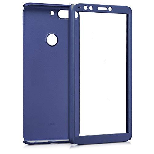 kwmobile Huawei Y7 (2018)/Y7 Prime (2018) Hülle - komplette Abdeckung - inkl. Display Schutzglas - Case für Huawei Y7 (2018)/Y7 Prime (2018) - Metallic Blau - 2
