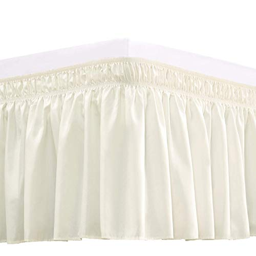 RIMELA Bed Skirt Wrap Around Elastic Dust Ruffles Solid Color Wrinkle and Fade Resistant with Adjustable Elastic Belt Easy to Install Ivory for Queen Size 15 Inch Drop