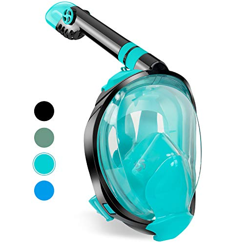 Zenoplige Full Face Snorkel Mask, Diving Mask 2020 Innovative Safety Breathing System, 180 Panoramic Foldable Anti Fog Anti Leak Swimming Mask with Detachable Camera Mount for Adults Children