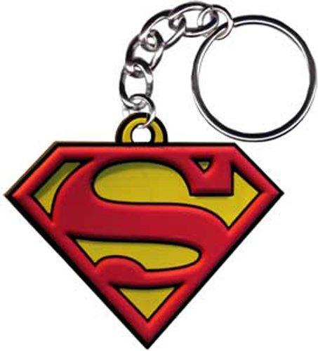 """SUPERMAN Logo Rubber Gummi KEYCHAIN SCHLÜSSEL, Officially Licensed Artwork KunstwerkDC Comics Superhero 2.5\"""" x 2\"""" - High Quality Qualität Ruber KEYCHAIN SCHLÜSSEL"""