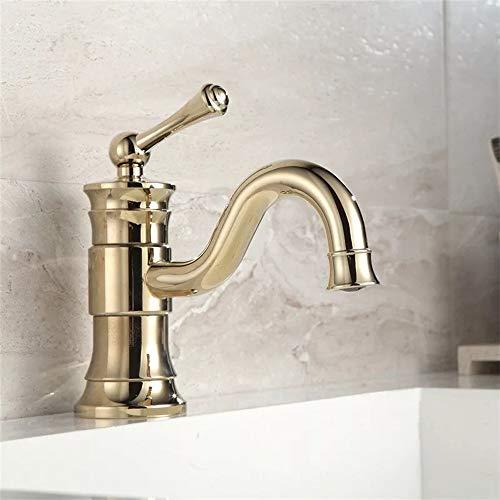 Sebasty Nuevo europeo todo chapado en cobre bajo encimera lavabo caliente y frío giratorio oro lavabo lavabo lavabo de un solo agujero mezclador grifo