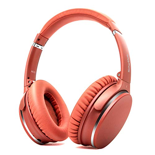 Auriculares de Diadema Inalámbricos con Cancelación de Ruido Bluetooth 5.0.Srhythm NC25 (2020) ANC Headhpones con 50H Batería,Micrófono,Asistente de Voz,Modo de Juego de Baja Latencia (Naranja-Coral)