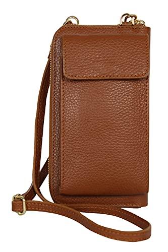 AmbraModa GLX21 - multifunktionale Damen Handytasche, Umhängetasche, Geldbörse aus echtem Leder, geeignet für Handys bis 6,5 Zoll (Camelbraun)