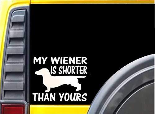 Yilooom Mijn Wiener is korter dan de jouwe Sticker teckel hond decal - Die Cut Vinyl Auto Sticker Bumper Sticker Window Laptop Sticker 2 Pack 4 Inches Aan Longest End 6 inches Meerkleurig