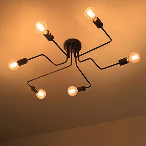 LIGHTESS Vintage Deckenleuchte E27 Deckenlampe Retro Industrie Deckenbeleuchtung für Küche Wohnzimmer Schlafzimmer Café Bar usw Schwarz (6-flamming)