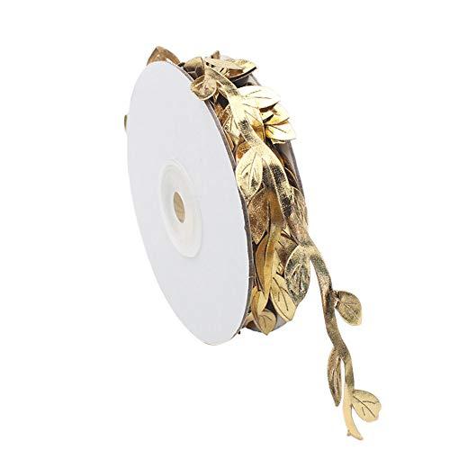 Topdo - Rollos de cinta de hojas doradas para manualidades, Navidad, boda, evento y decoración del hogar Golden
