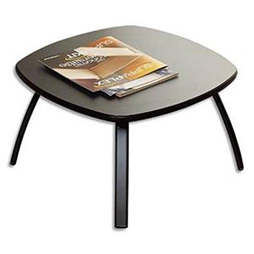 Table basse carrée noire en bois, plateau gris anthracite et piètement époxy aluminium