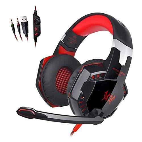 Kaper Go Gaming Headset, for PS4, Mac, PC, Computer, LED-Licht, Mit Abnehmbarem Mikrofon, Mit Surro&-So&-Qualität 3,5 Mm Lautstärkeregelung (Farbe : Red)