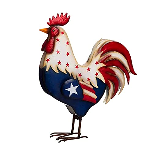 PHLPS Metal Patriotic Rooster Statue 4th Of July USA Flag Rooster Decor Home Garden Decor Sculpture Cock Porch Standing Decor for Celebration American Independence Day