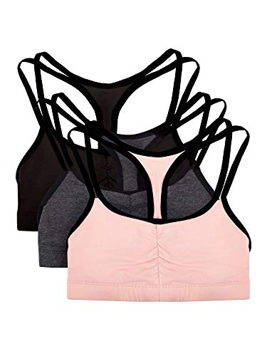 Fruit of the Loom womens Spaghetti strap Pullover Sports Bra, Blushing Rose With Black/Charcoal/Black - 3 Pack, 38
