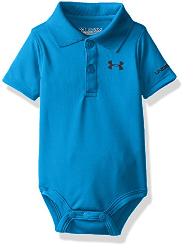 Under Armour Baby Boys' Logo Polo Bodysuit, Pool, 3/6M