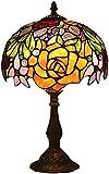 MUZIDP Tiffany lámpara de mesa, W10H17 pulgadas rojo rosa manchado paraguas luz antiguo escritorio lámpara amplia pantalla