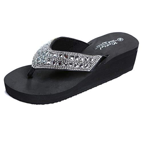 Flip Flops Sommer Wedges Schuhe Sandalen Hausschuhe Strass Keile Duschschuhe Zehentrenner Damen Badeschuhe Casual Strandschuhe,Schwarz,37 EU