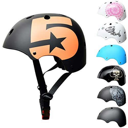 SC Skateboard & BMX Bike Helmet for Kids & Adults – 12 Designs, Matt Black - Children Helmet, Size: S