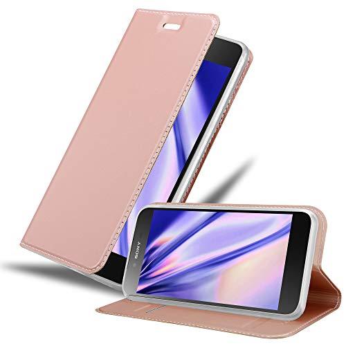 Cadorabo Hülle für Sony Xperia Z5 Premium - Hülle in ROSÉ Gold – Handyhülle mit Standfunktion und Kartenfach im Metallic Look - Case Cover Schutzhülle Etui Tasche Book Klapp Style