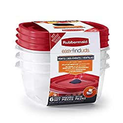in budget affordable Rubber Made Easy Find Grocery Lid Storage and Organizing Container, 3 Packs, Racer Red