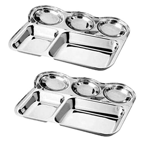 WhopperIndia Heavy Duty Stainless Steel Rectangle/Square Deep - 2.7 cm Dinner Plate w/5 Sections Mess Trays for Kids Lunch, Camping, Events & Every Day Use 6 Pcs - 34 cm each
