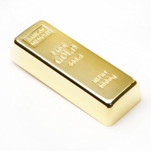 Aricona Funny Design USB Stick by Form Goldbarren (Metall) 16 GB, schneller USB 2.0/1.1, Coole, lustige Figur Speichersticks mit Plug&Play, originelle, witzige Motiv Sticks, das besondere Geschenk