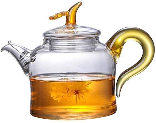 Bouilloire induction Théière en verre Tea Kettle Ensemble Épaissié Thé filtré à haute température Simple Famille Nouvelle Théière Théière Linglong Fleur WHLONG