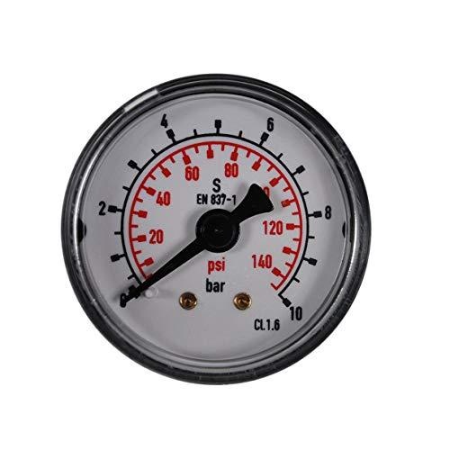HELO '175330-1' Druckluft Manometer 0-10 bar + psi Messer, 40 mm Ø, 1/8