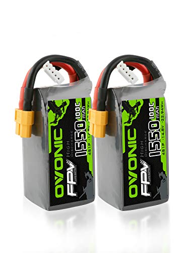 Ovonic 4S 1550mAh 100C 14.8V LiPo Battery Pack with XT60 Plug for Heli Airplane Drone FPV Racing (2 Packs)