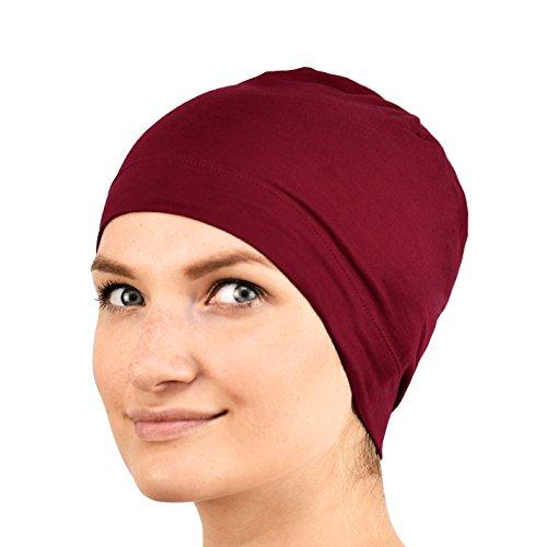 Gorro unisex para dormir, de Jasmine Silk,apto para quimioterapia y pérdida de cabello Rojo granate Talla única